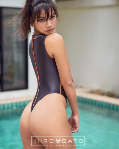 Hydra Back Thong Swimsuit Anthracite Pearl